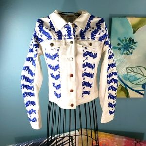 Rebecca Minkoff White Denin Blue Floral jacket